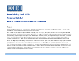 UN Peacebuilding Fund Results Framework Outcomes and