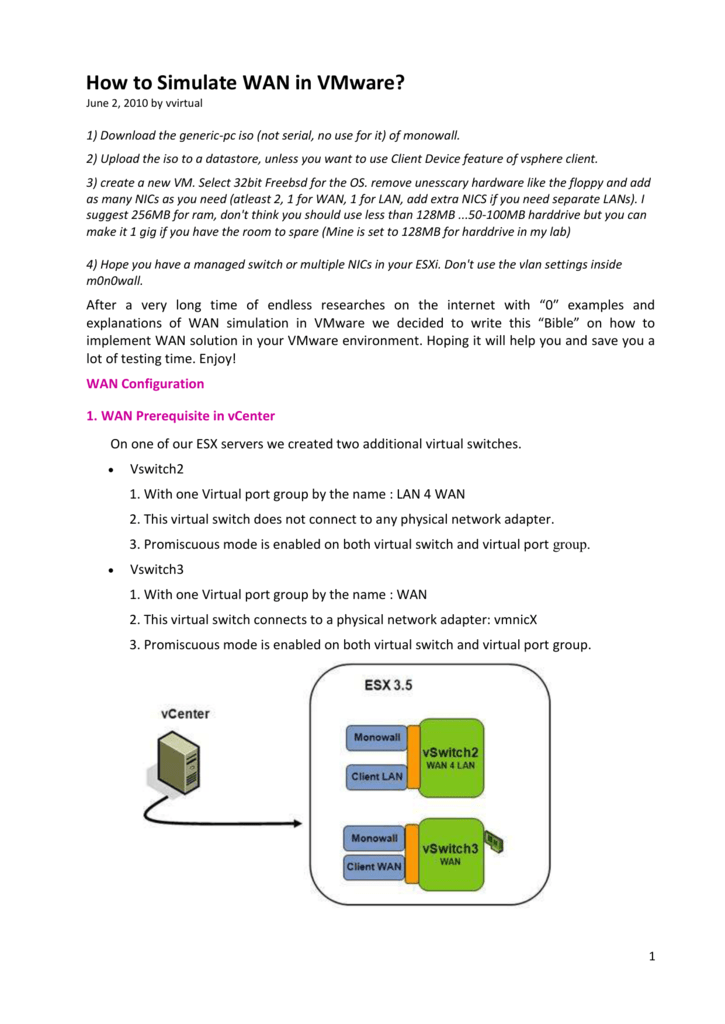 How to Simulate WAN in VMware