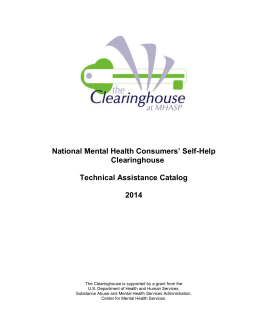 Technical Assistance Catalog - National Mental Health Consumers