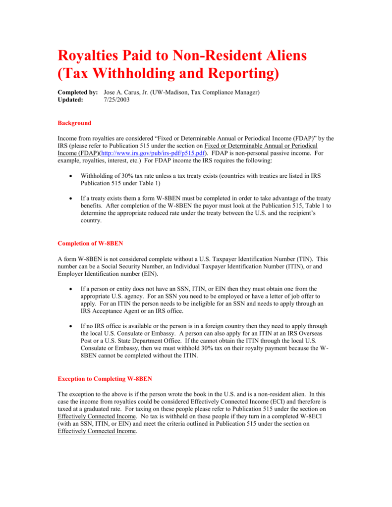 Royalties Payments (Tax Withholding and Reporting)