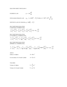 EQUATION SHEET FOR EXAM #1