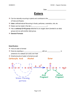 Esters - Mr. Lee's Science
