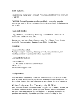 2016 Syllabus Interpreting Scripture Through Preaching