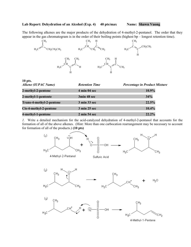 dehydration of 2 methyl 3 pentanol
