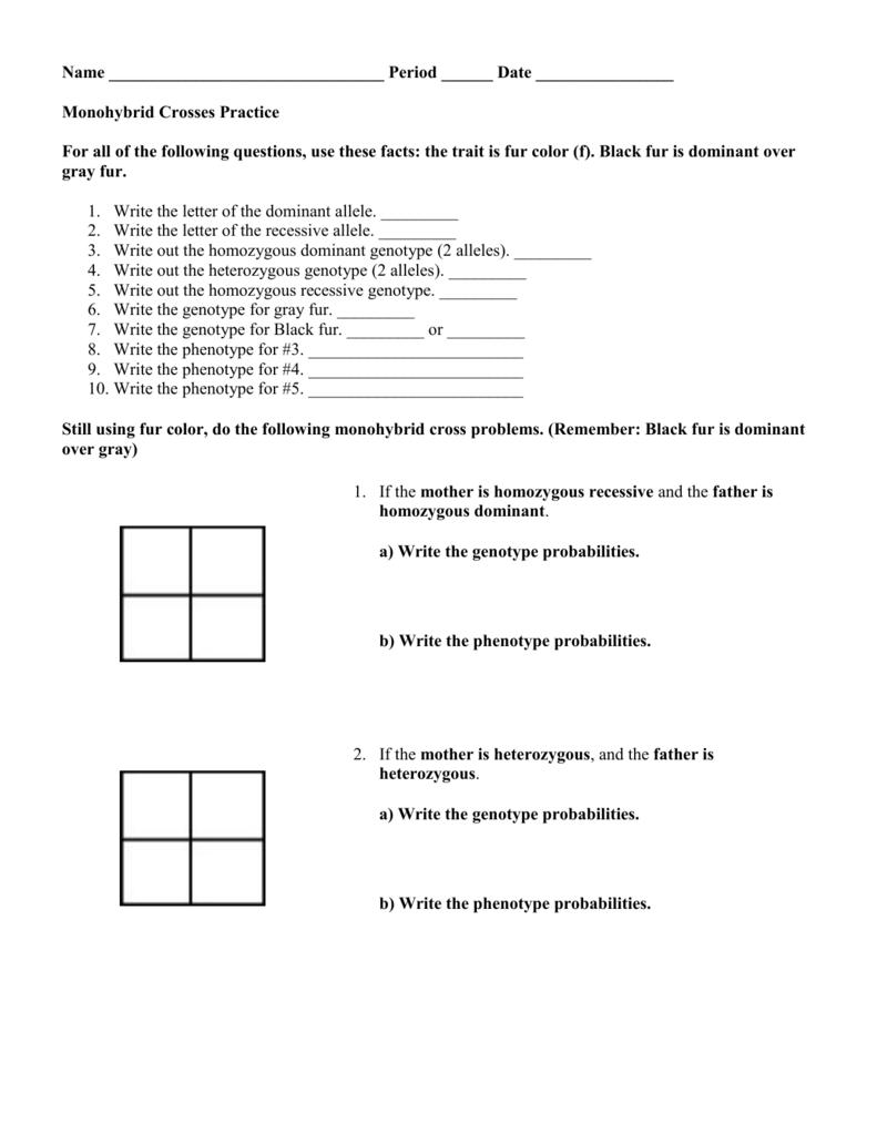 Monohybrid Crosses Practice