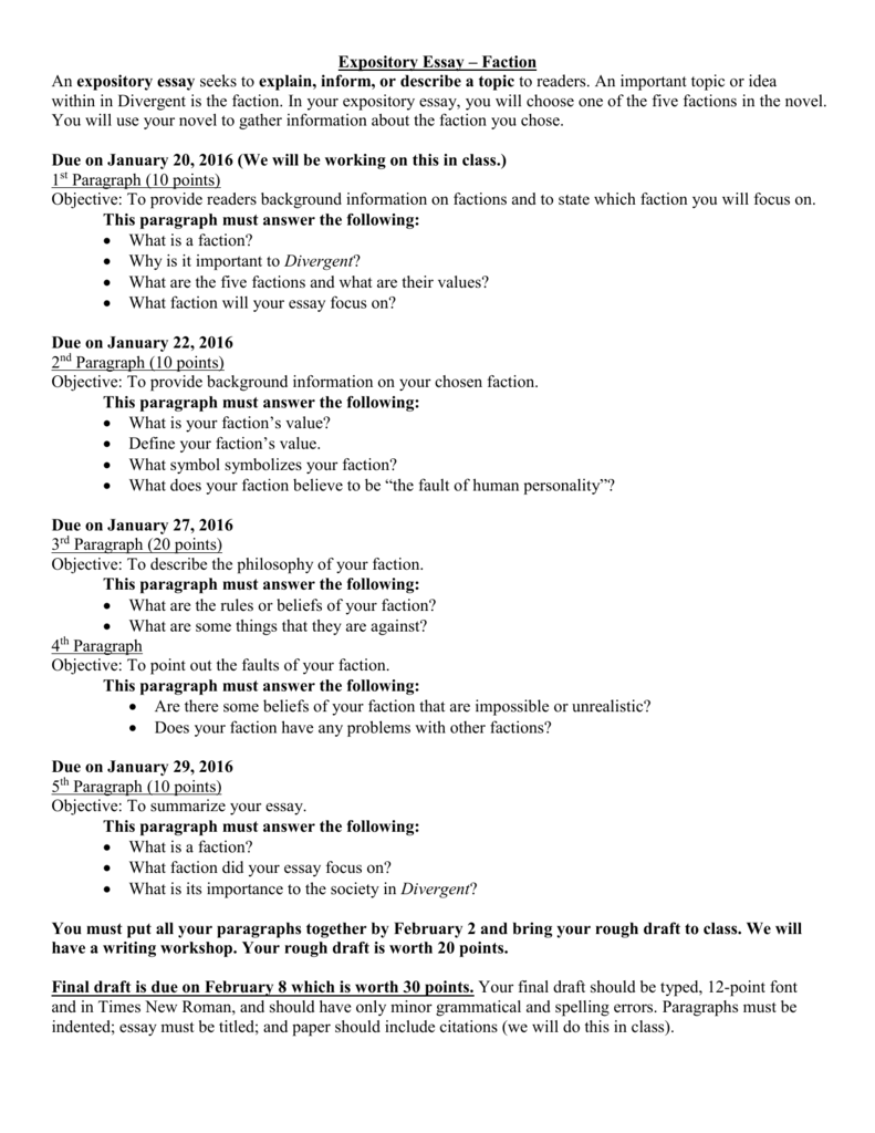 faction expository essay worksheet