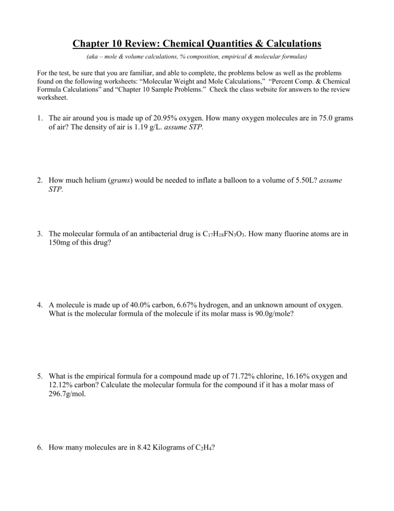 worksheet Mole Practice Worksheet chapter 10 review chemical quantities calculations