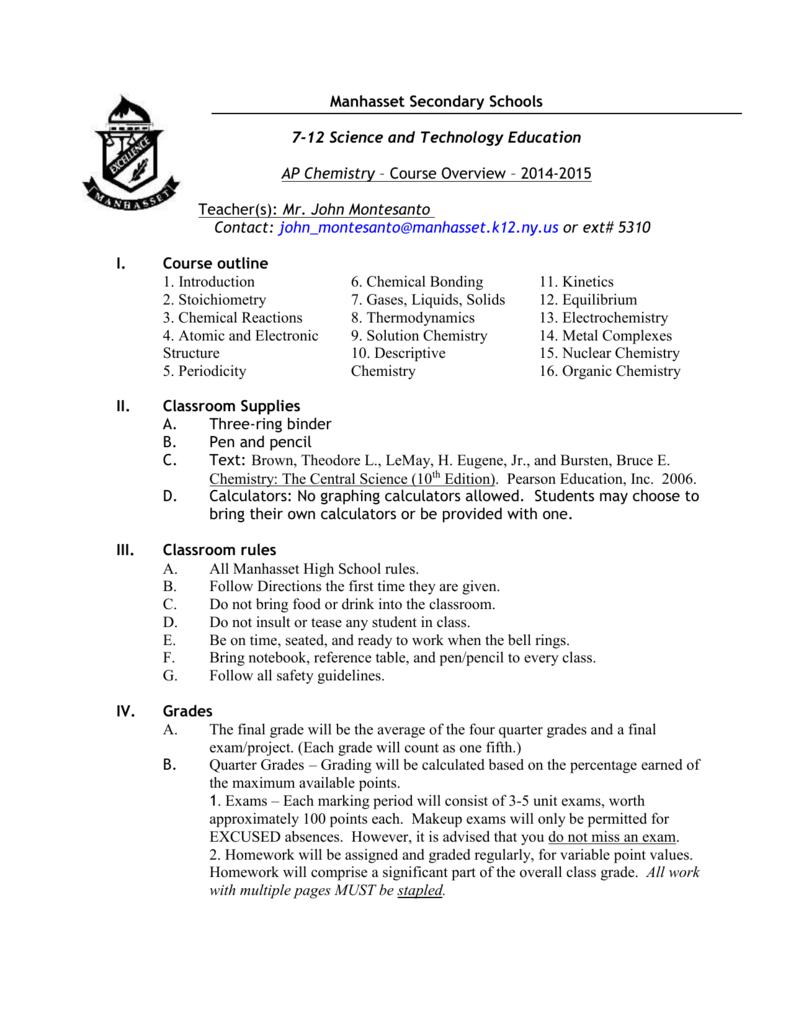 course details - Manhasset Public Schools