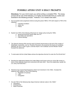 progressive era wwi and s essay prompts possible apush unit 6 essay prompts