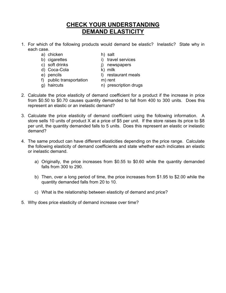 5 A Worksheet Elasticity Of Demand