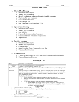 Learning Study Guide - Windsor C