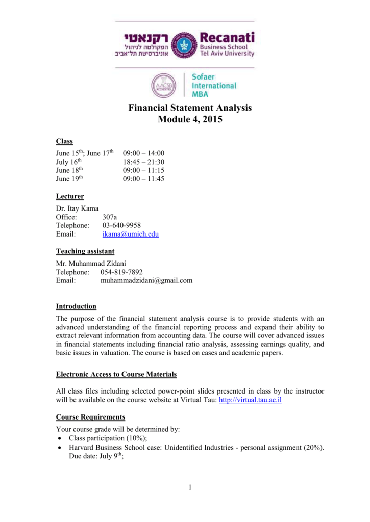 Financial Statement Analysis (5 Hours)