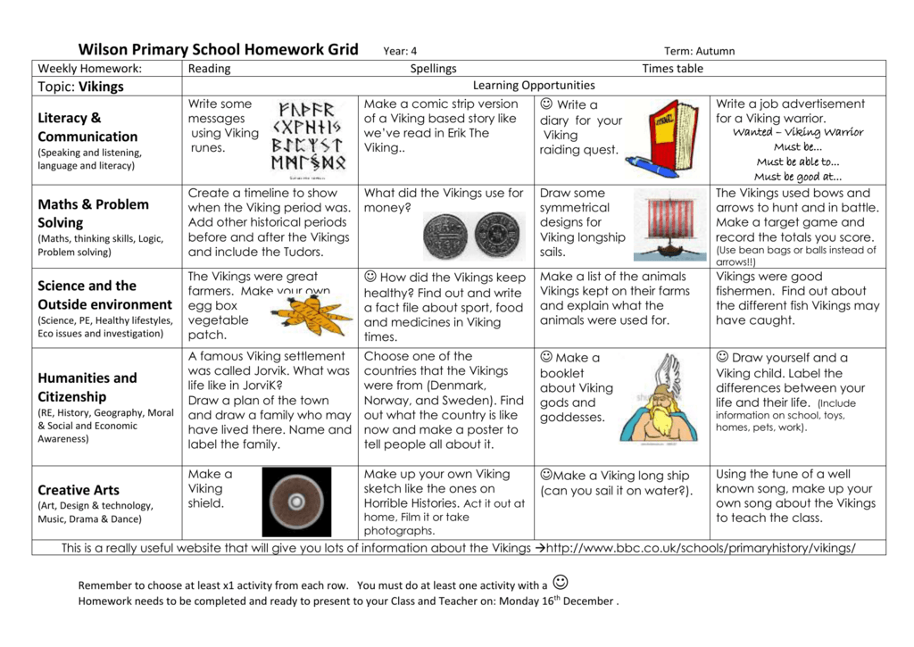 Wilson Primary School Homework Grid Year: 4 Term: Autumn