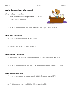 Mole Conversions Worksheet - CRHS