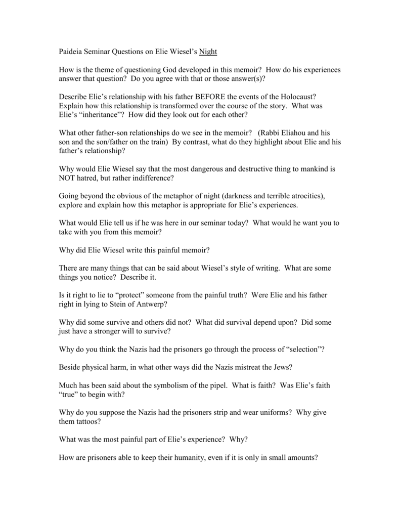 essay questions for elie wiesel night Elie wiesel - night 5 pages 1353 words december 2014 saved essays save your essays here so you can locate them quickly topics in this paper.