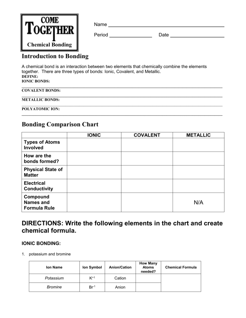 worksheet Bonding Worksheet bonding worksheet