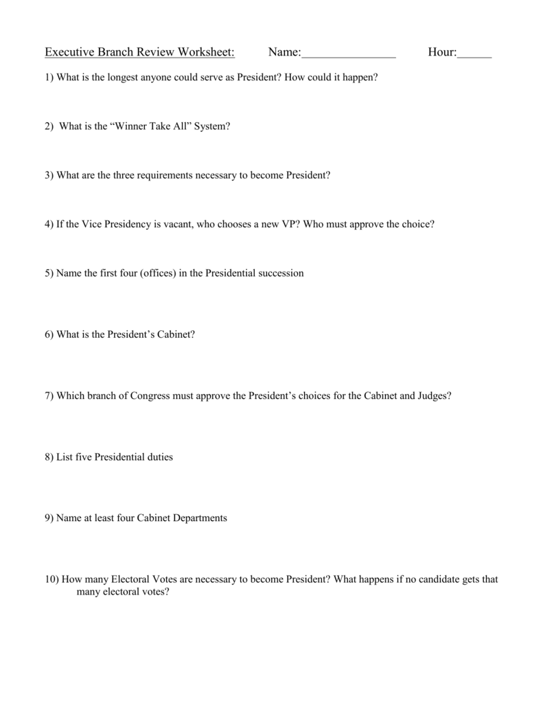 Executive Branch Review Worksheet