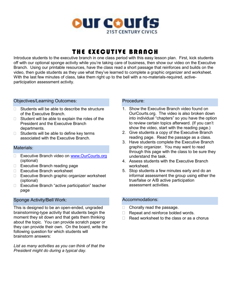 Worksheets Roles Of The President Worksheet theexecutivebranch 1