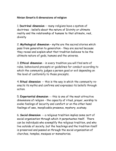 Ninian Smart's 6 dimensions of religion