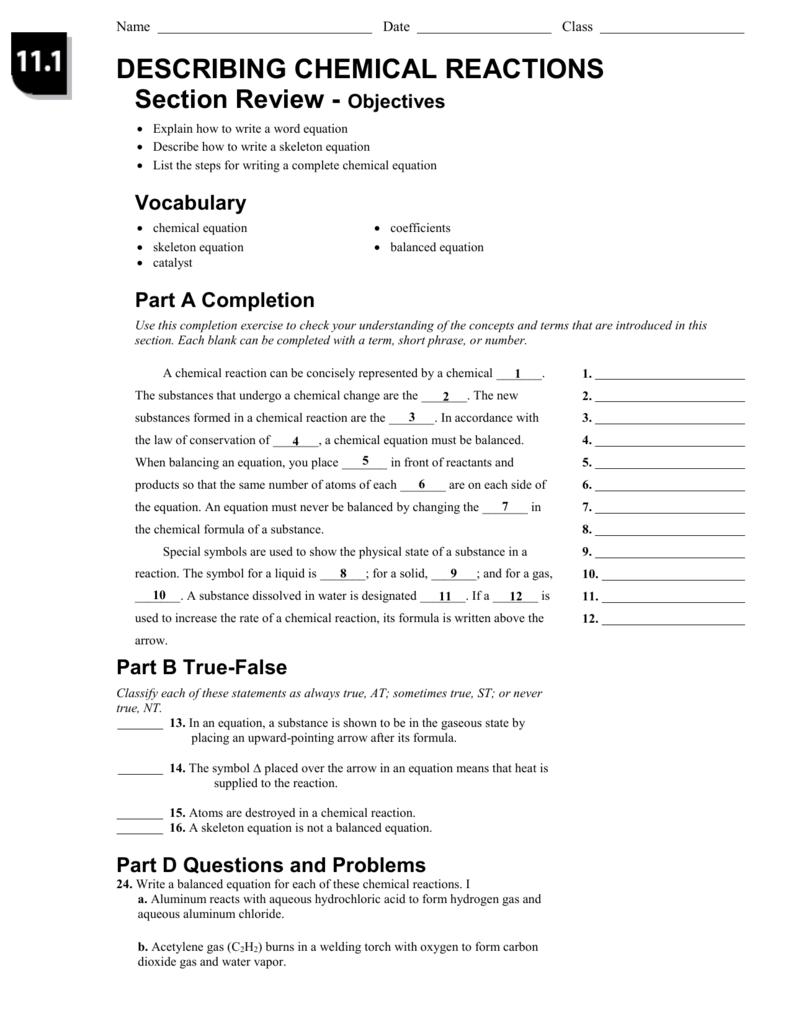 Describing chemical reactions worksheet answer key