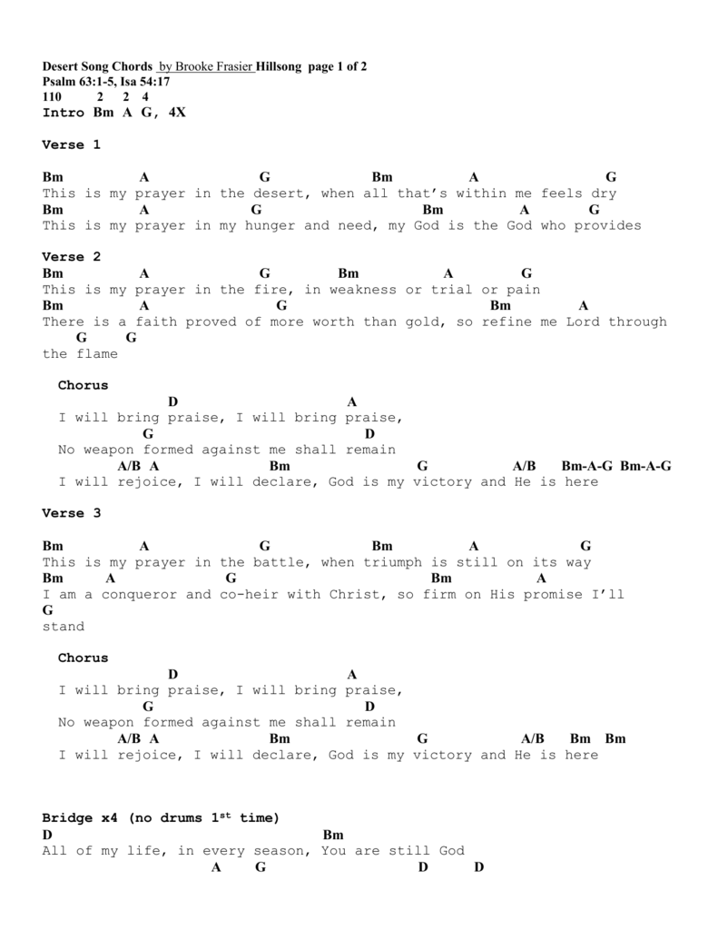 Desert song chords by brooke frasier hillsong hexwebz Image collections