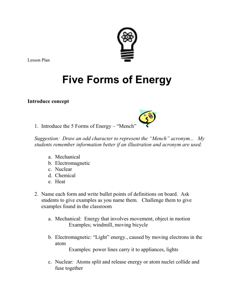List The 6 Forms Of Energy And An Example Of Each Hint Mr