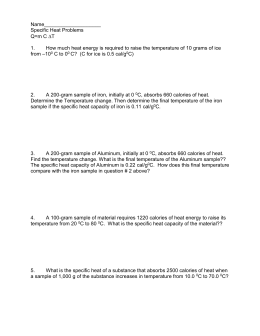 Chemistry Temperature & Specific Heat Worksheet