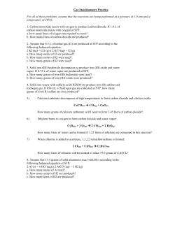 gas stoichiometry worksheet