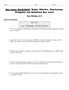 Gas Laws Worksheet #2: Boyle, Charles, and Combined Gas Laws