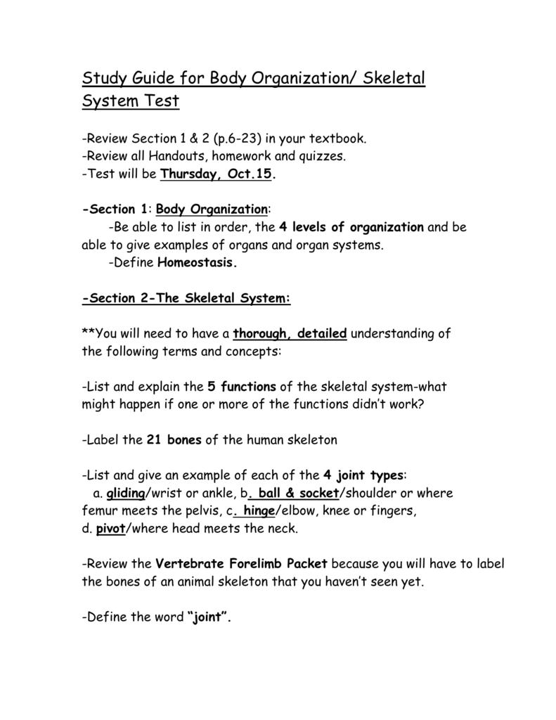 Study Guide for Skeletal System Test