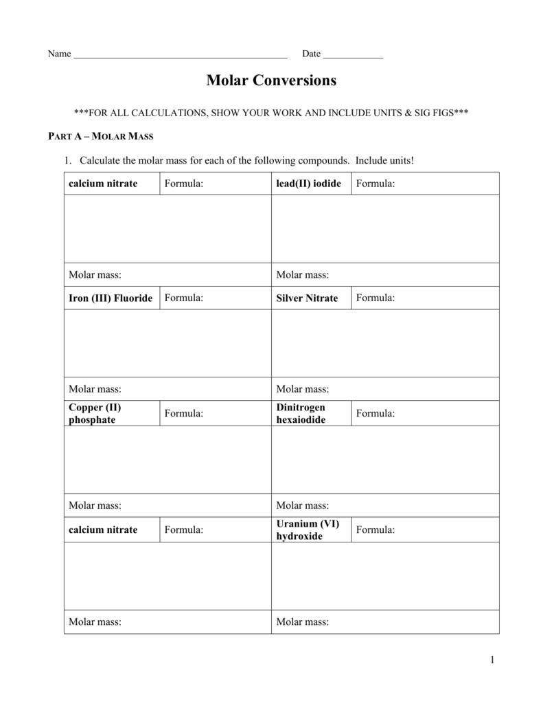 Molar Conversions Worksheet
