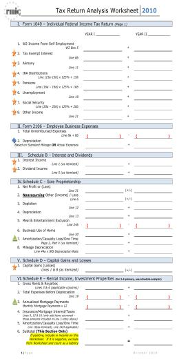 Cash Flow Analysis (Form 1084): PDF
