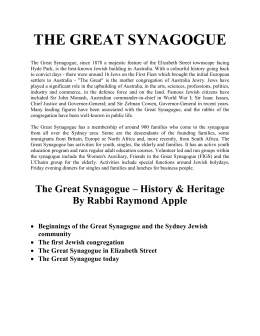 The Great Synagogue, since 1878 a majestic feature of the