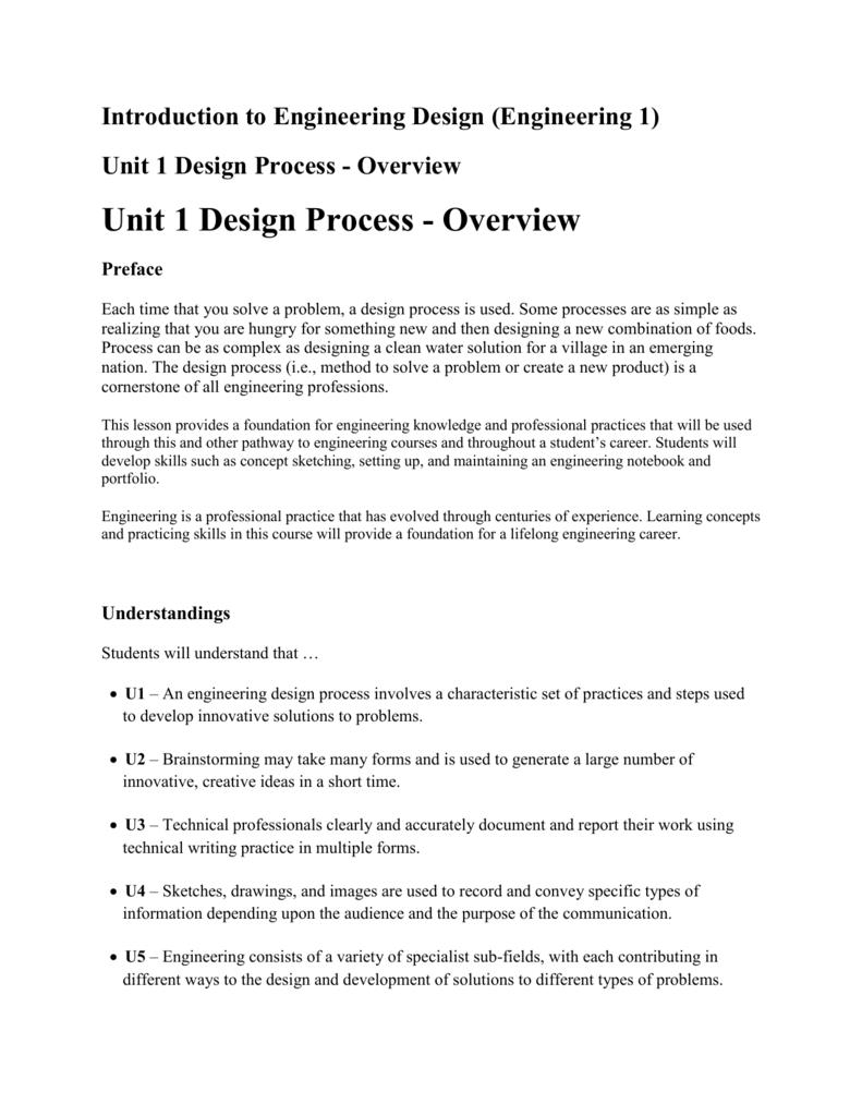 Introduction To Engineering Design Engineering 1 Unit 1 Design