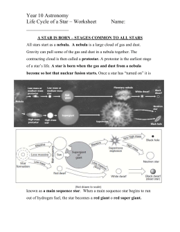 Life Cycle of a Star - Intervention Worksheet
