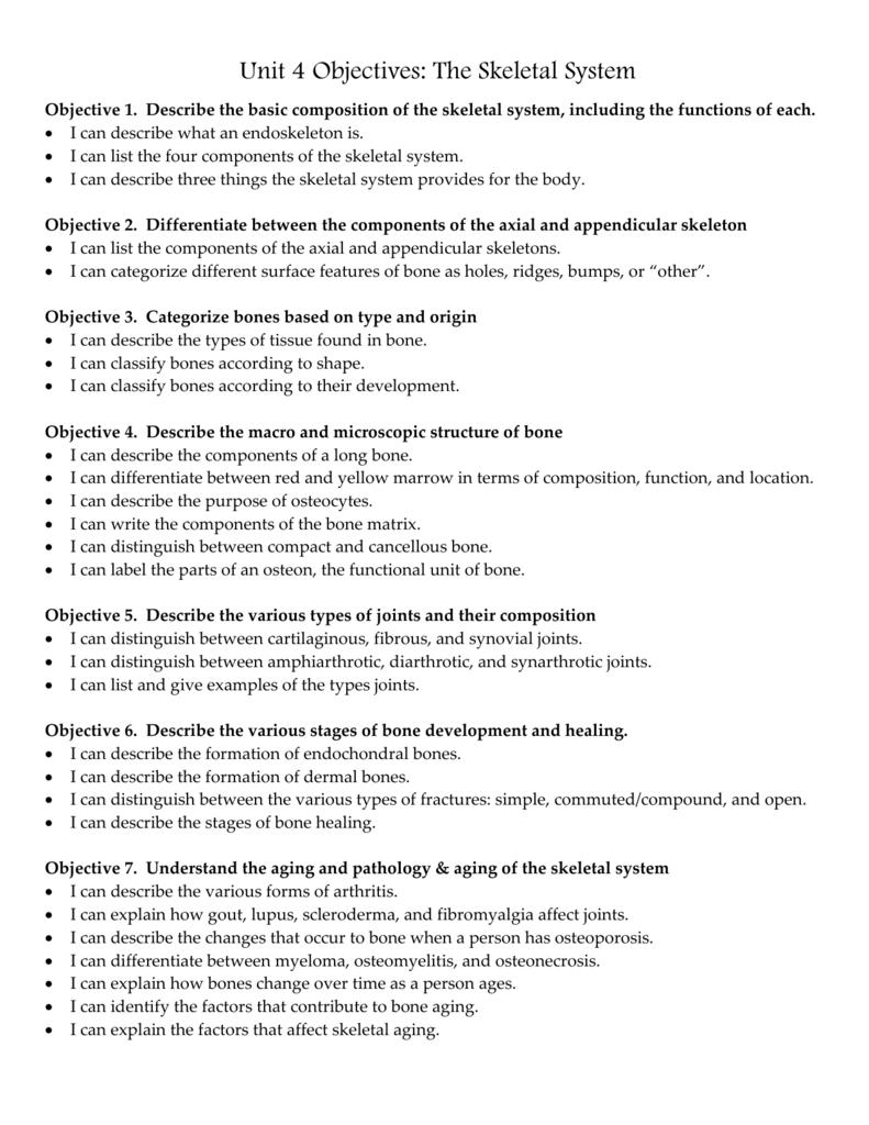 Skeletal System Objectives 11 12