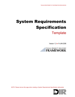 System Requirements Specification : Template