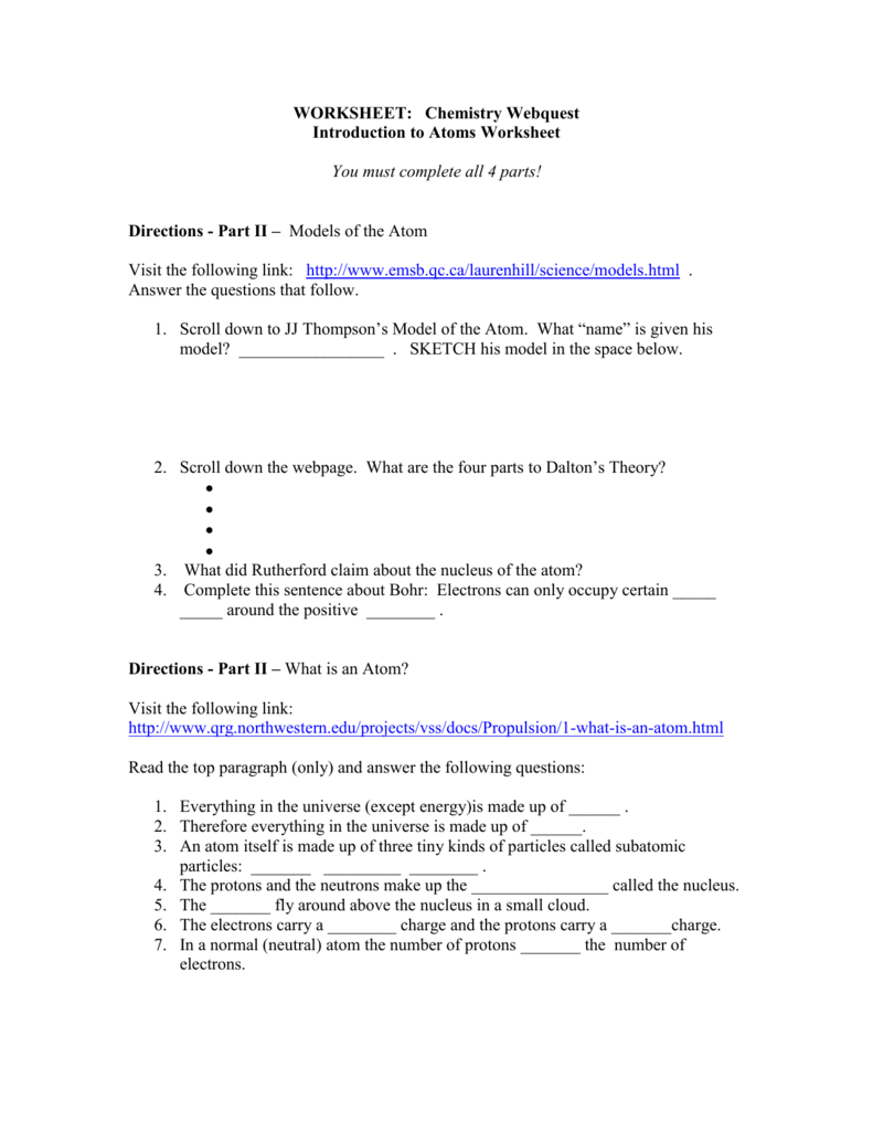 worksheet Models Of The Atom Worksheet Answers chemistry webquest 1 introduction to atoms worksheet