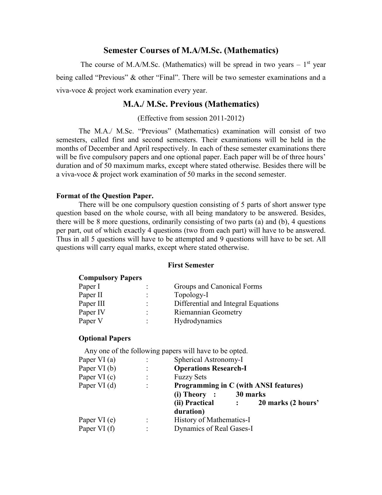 Gorakhpur University MA MSc Math Semester 1 Syllabus pdf