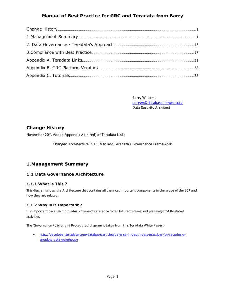 2  Data Governance - Teradata's Approach
