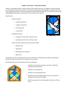 "Algebra 1 Final Project – Stained Glass Window Create a ""stained"