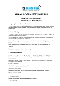 Draft Minutes of the previous Annual General Meeting