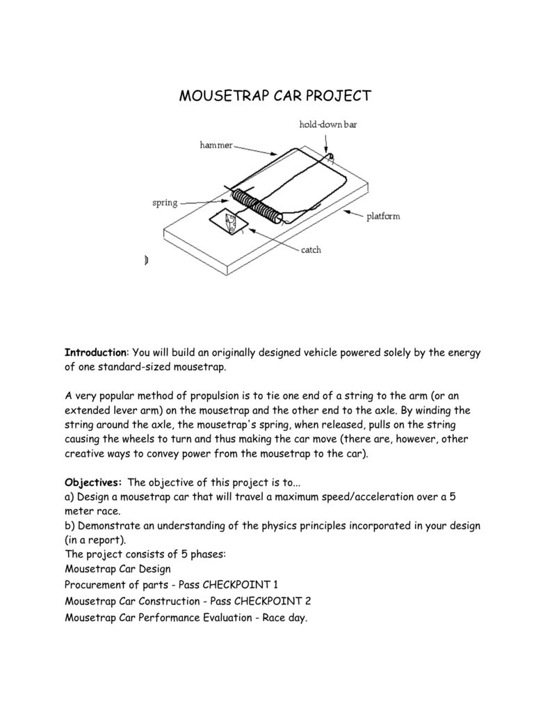 Mousetrap Car Project Introduction You Will Build An