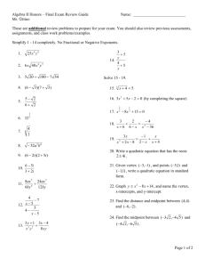 Honors Algebra II Final Exam (Form A)