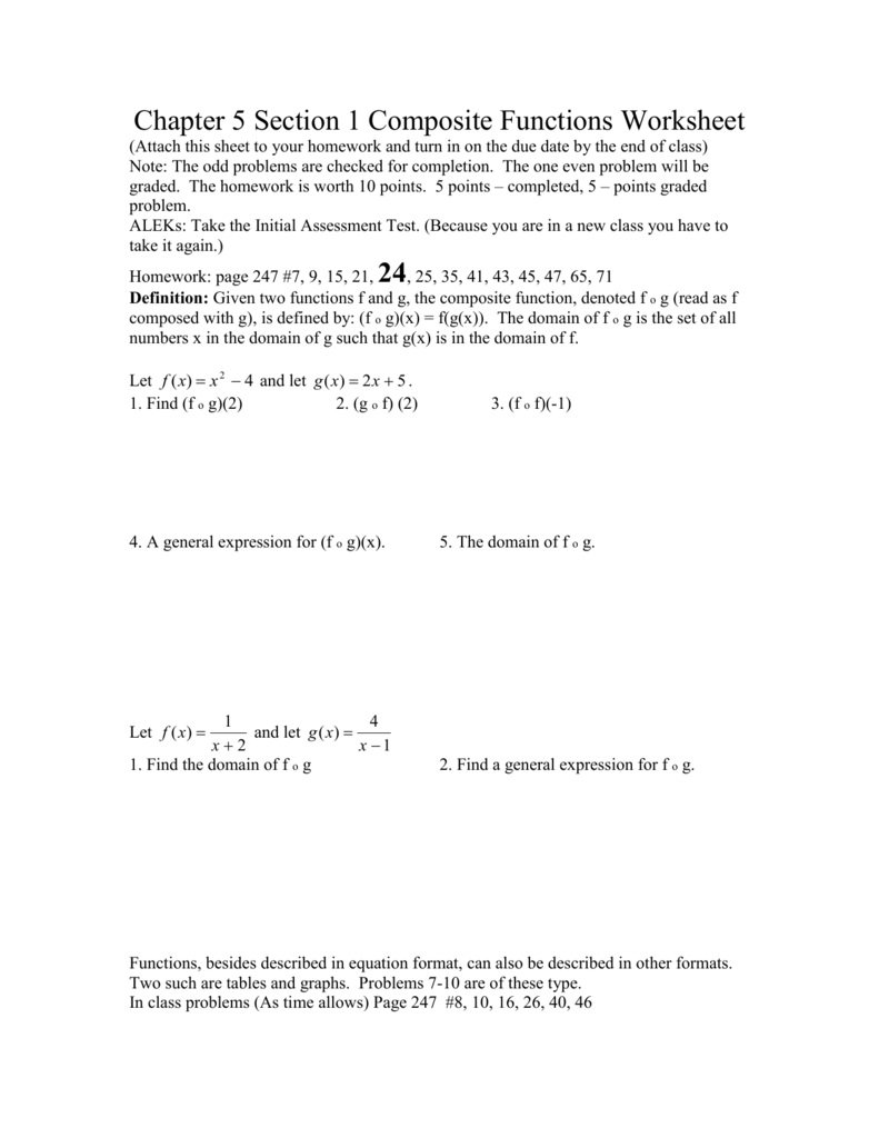 Chapter 25 Section 25 Composite Functions Worksheet Intended For Composite Function Worksheet Answers
