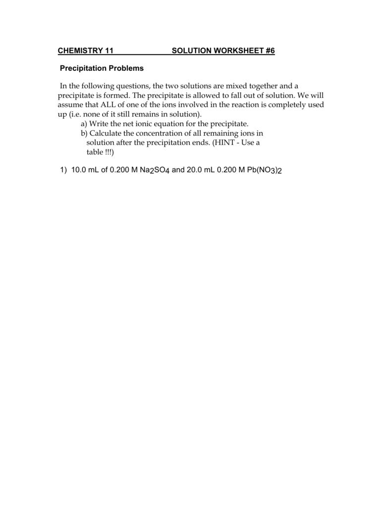worksheet Precipitation Reactions Worksheet chemistry 11 solution worksheet 4