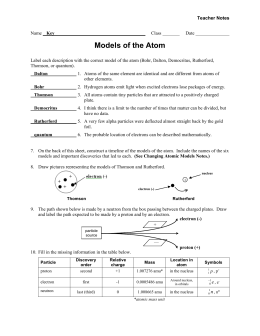 Worksheet - Models of the Atom - Teacher