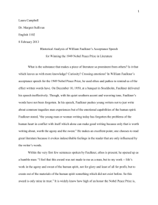 Rhetorical Analysis of William Faulkner's Acceptance Speech for