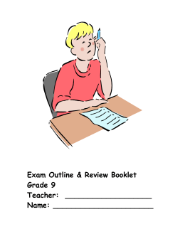 Grade 9 French Exam Outline & Review Bklt