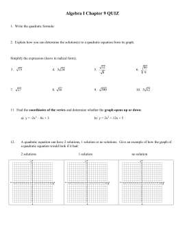 Algebra I Chapter 9 Test